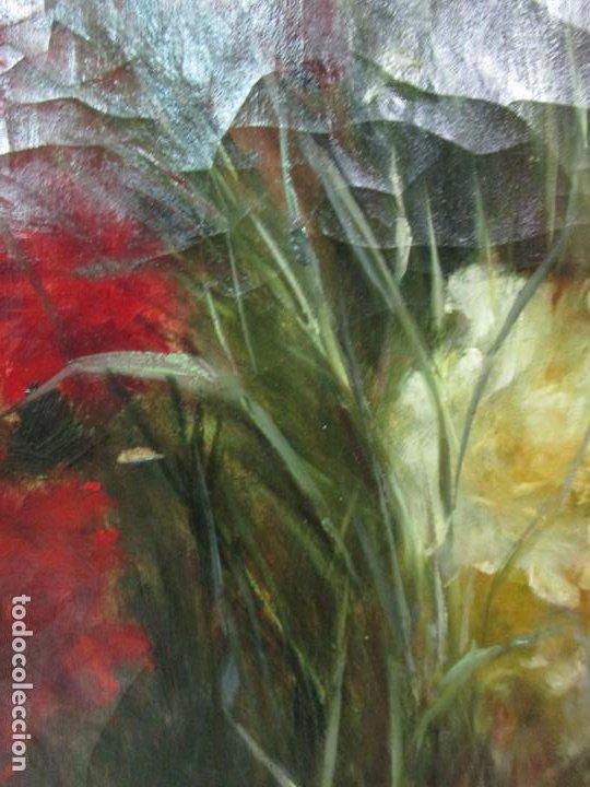 Arte: Antiguo Bodegón con Flores - Óleo sobre Tela - Bonitos Colores - Marco Original - S. XIX - Foto 5 - 196197908