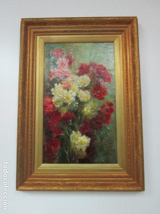 Arte: Antiguo Bodegón con Flores - Óleo sobre Tela - Bonitos Colores - Marco Original - S. XIX - Foto 7 - 196197908