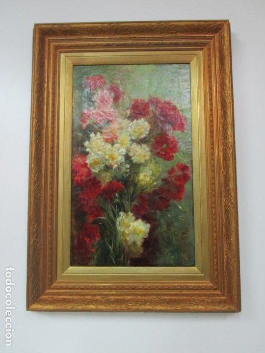 Arte: Antiguo Bodegón con Flores - Óleo sobre Tela - Bonitos Colores - Marco Original - S. XIX - Foto 9 - 196197908