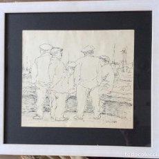 Arte: OBRA DE I.CHILLIDA ,PLUMILLA SOBRE PAPEL,PERSONAJES VASCOS ESTÁ FIRMADA EN EL ÁNGULO INFERIOR DERE. Lote 196253583
