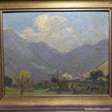 Arte: OLEO SOBRE CARTÓN DURO DE RAMON CORTES CASANOVAS.PAISAJE DE GUALVA.. Lote 196315356