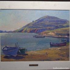 Arte: ÓLEO SOBRE TABLEX DE ISIDRE ODENA(PINTOR DE TERRASSA).PORT LLIGAT (CADAQUÉS).BUEN TRAZO.. Lote 196317230