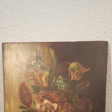 Arte: OLEO SOBRE TABLA DE BODEGÓN CON FLORES FIN S. XIX PRINC. S. XX. MEDIDAS 30 X 24 CM.. Lote 196354436