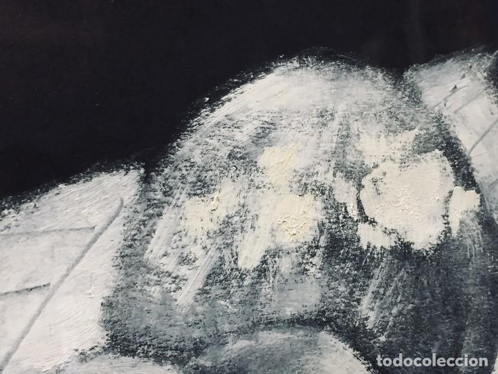 Arte: bodegon frutas oleo cartulina negra manzanas membrillos mantel firma lapiz m j anton 89 50,5x65,5cms - Foto 5 - 196362137