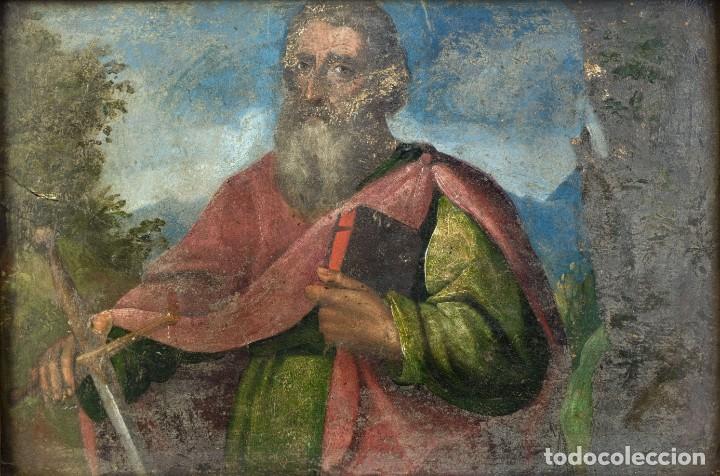 ÓLEO SOBRE TABLA SAN PABLO ESCUELA ESPAÑOLA SIGLO XVI (Arte - Pintura - Pintura al Óleo Antigua siglo XVI)