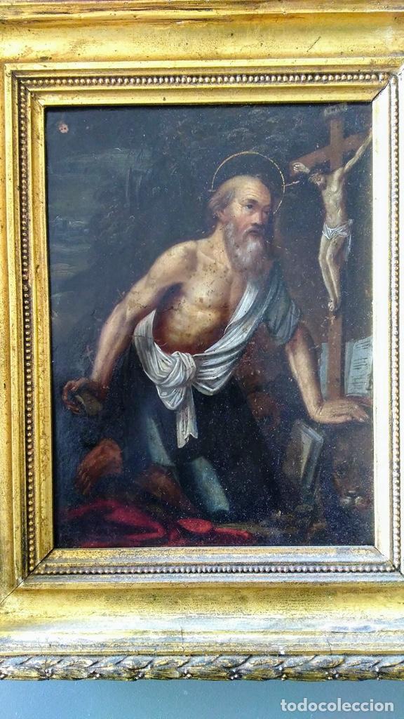 Arte: San Jerónimo, Óleo sobre cobre S. XVIII - Foto 4 - 193391690