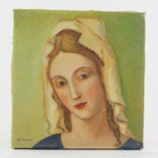 Arte: JOAN D'IVORI, RETRATO MUJER, PINTURA AL ÓLEO SOBRE TELA, 1930'S, FIRMADO, SIN MARCO. 23X22CM. Lote 196475206