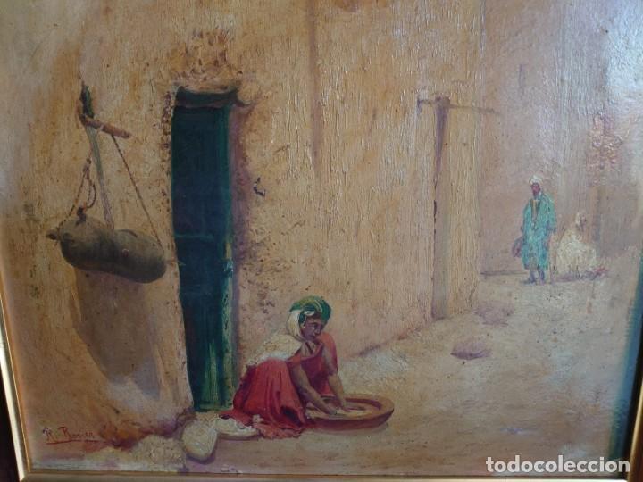 Arte: OLEO SOBRE CARTON CALLE DE UN PUEBLO ARABE - Foto 2 - 196494181