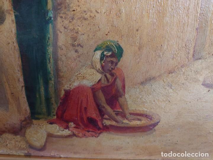 Arte: OLEO SOBRE CARTON CALLE DE UN PUEBLO ARABE - Foto 3 - 196494181