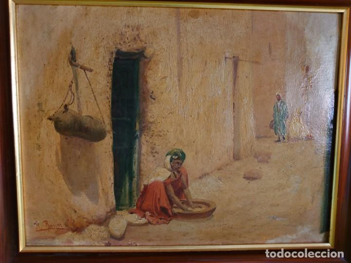 OLEO SOBRE CARTON CALLE DE UN PUEBLO ARABE (Arte - Pintura - Pintura al Óleo Contemporánea )