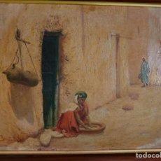 Arte: OLEO SOBRE CARTON CALLE DE UN PUEBLO ARABE. Lote 196494181