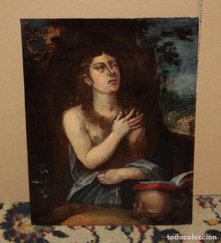 SANTA MAGDALENA PENITENTE - SG XVII - COBRE - FIRMADO Y TITULADO - 22,7 X 17 CM. (Arte - Pintura - Pintura al Óleo Antigua siglo XVII)