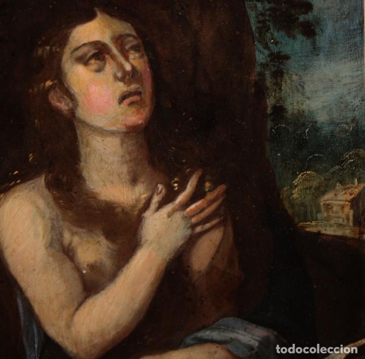 Arte: SANTA MAGDALENA PENITENTE - SG XVII - COBRE - FIRMADO Y TITULADO - 22,7 X 17 CM. - Foto 3 - 196556993