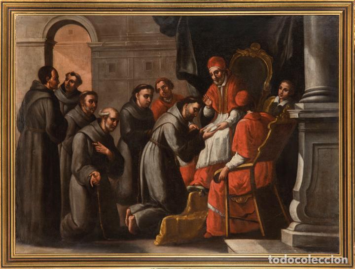 ÓLEO LIENZO SAN BUENAVENTURA, SUPERIOR GENERAL DE LOS FRANCISCANOS. ESCUELA SEVILLANA S. XVII (Arte - Pintura - Pintura al Óleo Antigua siglo XVII)
