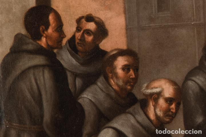 Arte: Óleo lienzo San Buenaventura, superior general de los Franciscanos. Escuela Sevillana S. XVII - Foto 2 - 196572785