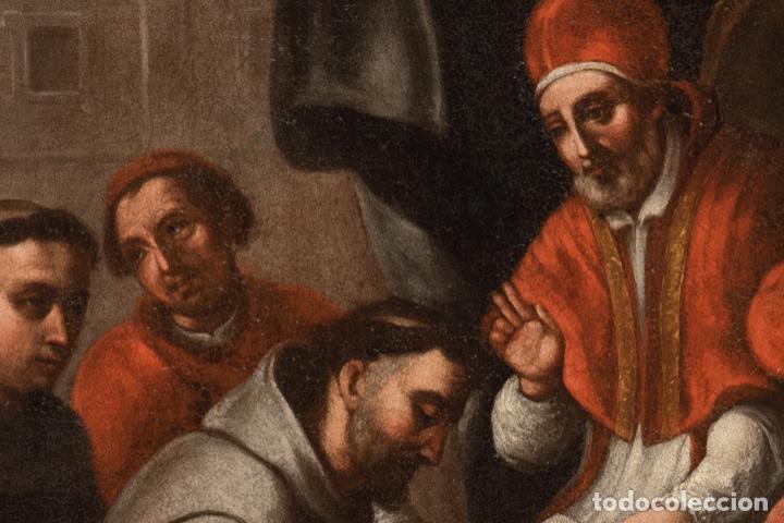 Arte: Óleo lienzo San Buenaventura, superior general de los Franciscanos. Escuela Sevillana S. XVII - Foto 3 - 196572785