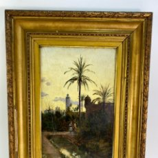 Arte: B-928. OLEO SOBRE TABLA, VISTA DE CASTELLON. FIRMADO EDUARDO LAFORET. AÑO 1894, S.XIX.. Lote 196579151