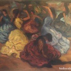 Arte: PINTURA OLEO CUADRO AÑOS 30 ESCENA DANZA GITANA ESPAÑOLA EN ESCENARIO TEATRO PARIS FRANCIA. Lote 196597207