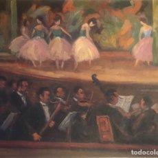 Arte: PINTURA OLEO CUADRO AÑOS 30 ESCENA DANZA BAILARINAS ESCENARIO TEATRO OPERA PARIS FRANCIA ORQUESTA. Lote 196598945