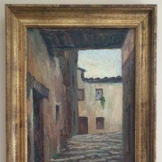 Arte: MOSSÈN JOSEP GELABERT I RINCÓN (EL MORELL, 1859 -LLAGOSTERA,1936) - CALLE DE PUEBLO.FIRMADO.TITULADO. Lote 196608846