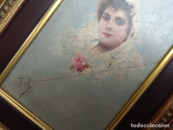 Arte: CUADRO OLEO SOBRE TABLA MUY ANTIGUO MANOLA SIGLO XIX FIRMADO J.A.CON IMPORTANTE MARCO DORADO - Foto 19 - 103621923