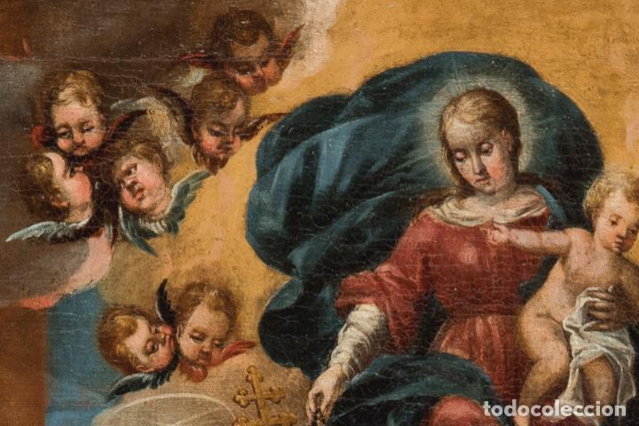 Arte: Óleo lienzo Virgen del Rosario de Pompeya Sta Catalina de Siena y Sto Domingo Escuela española XVII - Foto 2 - 196774956