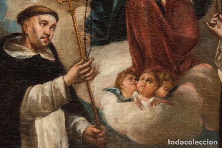 Arte: Óleo lienzo Virgen del Rosario de Pompeya Sta Catalina de Siena y Sto Domingo Escuela española XVII - Foto 3 - 196774956