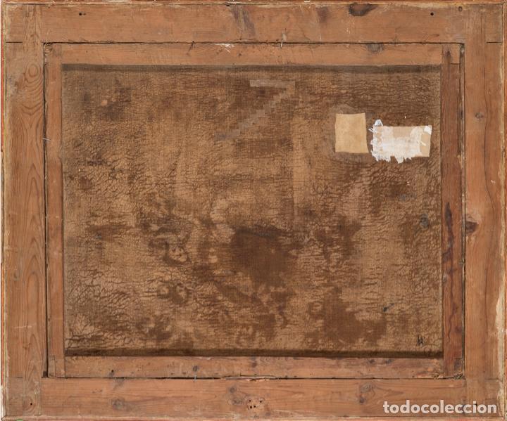 Arte: Óleo lienzo Virgen del Rosario de Pompeya Sta Catalina de Siena y Sto Domingo Escuela española XVII - Foto 4 - 196774956