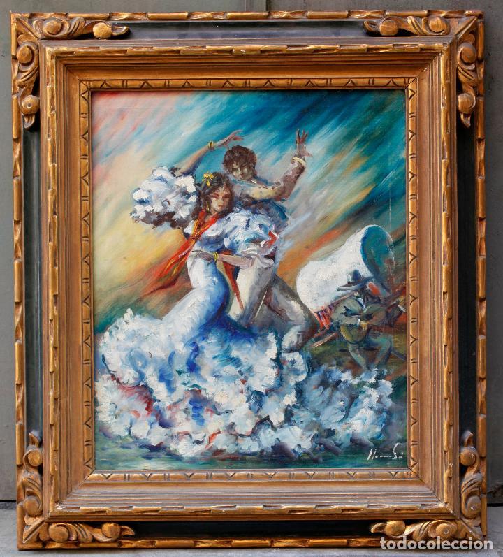 FRANCESC LLAURADÓ, PAREJA DE BAILARINES, PINTURA AL ÓLEO SOBRE TELA, CON MARCO. 54X44,5CM (Arte - Pintura - Pintura al Óleo Contemporánea )