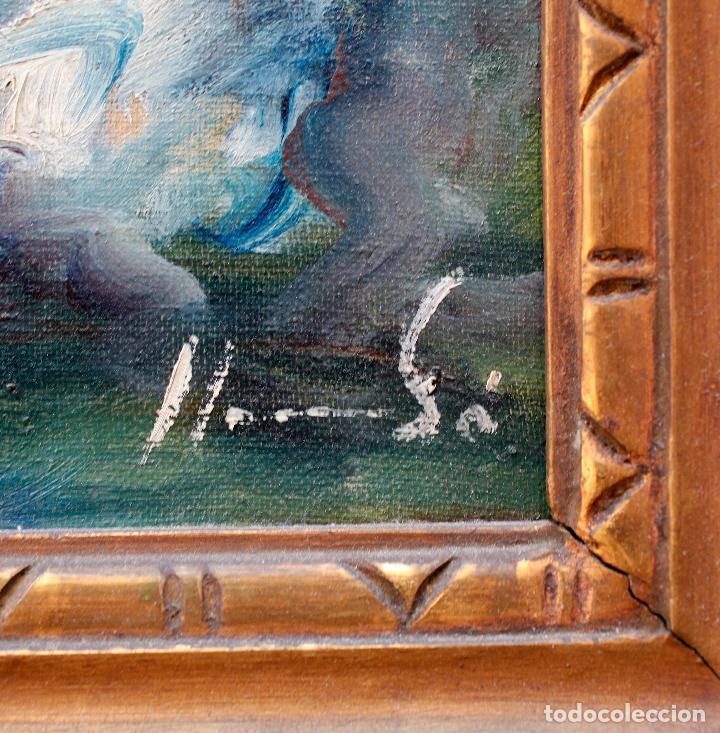 Arte: Francesc Llauradó, pareja de bailarines, pintura al óleo sobre tela, con marco. 54x44,5cm - Foto 2 - 196843645