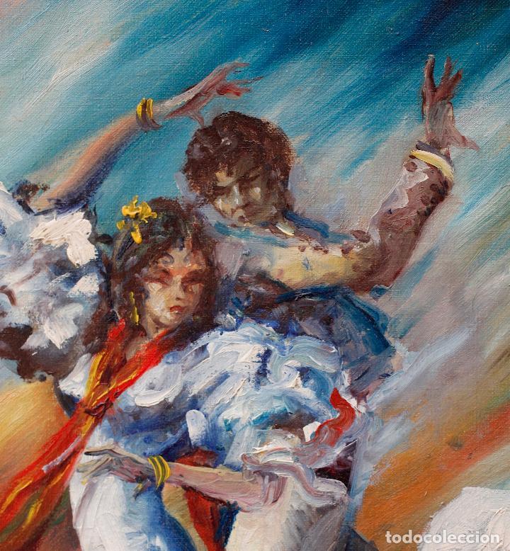 Arte: Francesc Llauradó, pareja de bailarines, pintura al óleo sobre tela, con marco. 54x44,5cm - Foto 3 - 196843645