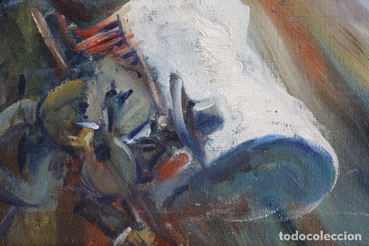 Arte: Francesc Llauradó, pareja de bailarines, pintura al óleo sobre tela, con marco. 54x44,5cm - Foto 4 - 196843645