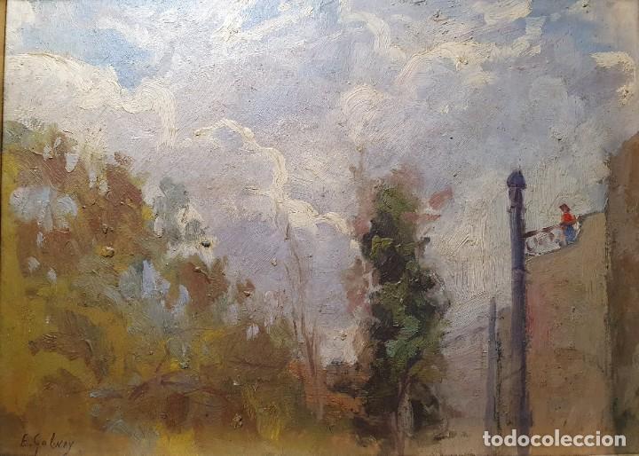 PAISAJE DE ENRIC GALWEY (Arte - Pintura - Pintura al Óleo Moderna siglo XIX)