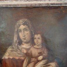 Arte: ÓLEO S/LIENZO -VIRGEN DEL ROSARIO CON NIÑO, CORONADOS-. MUY BIEN ENMARCADO DE ÉPOCA. 79,5X62,5 CMS.. Lote 196957617