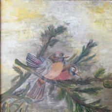 Arte: MARTA FONT I SOLER-MATAS (GIRONA, 1938-2012) - PÁJAROS SOBRE RAMAS.2 ÓLEOS/TELA.FIRMADOS.2002.. Lote 196804236