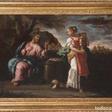 Arte: ÓLEO LIENZO JESÚS Y LA SAMARITANA ESCUELA ITALIANA S XVIII. Lote 197028198