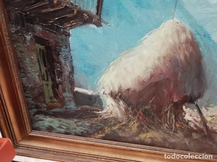 Arte: IMPRESIONANTE ÓLEO DE GRANDES DIMENSIONES DE JOSEP MENESES TAPIAS TITULADO ESCENA RURAL. 130 X 62 CM - Foto 4 - 197060137