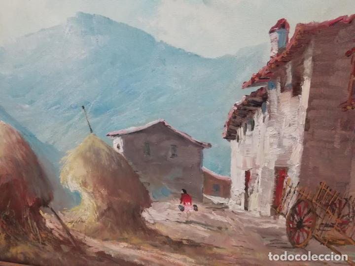 Arte: IMPRESIONANTE ÓLEO DE GRANDES DIMENSIONES DE JOSEP MENESES TAPIAS TITULADO ESCENA RURAL. 130 X 62 CM - Foto 6 - 197060137