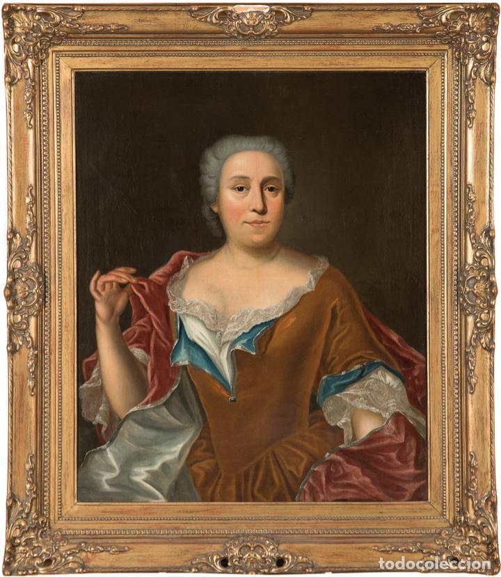 ÓLEO LIENZO RETRATO DE DAMA ESCUELA FRANCESA SIGLO XVIII (Arte - Pintura - Pintura al Óleo Antigua siglo XVIII)