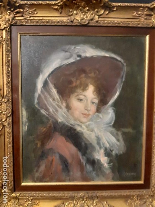 Arte: Retrato de dama. Óleo sobre lienzo. Firmado. Siglo XIX-XX. - Foto 2 - 197182503