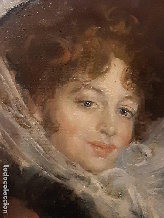 Arte: Retrato de dama. Óleo sobre lienzo. Firmado. Siglo XIX-XX. - Foto 3 - 197182503