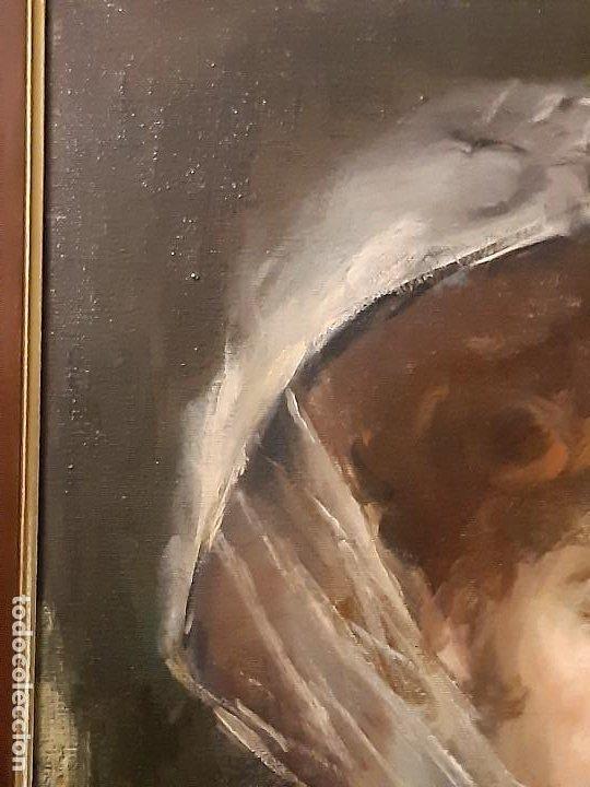 Arte: Retrato de dama. Óleo sobre lienzo. Firmado. Siglo XIX-XX. - Foto 4 - 197182503