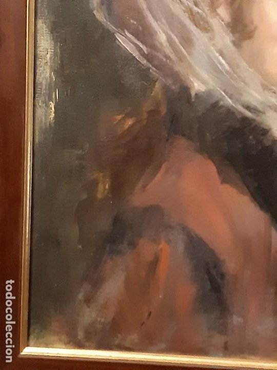 Arte: Retrato de dama. Óleo sobre lienzo. Firmado. Siglo XIX-XX. - Foto 5 - 197182503