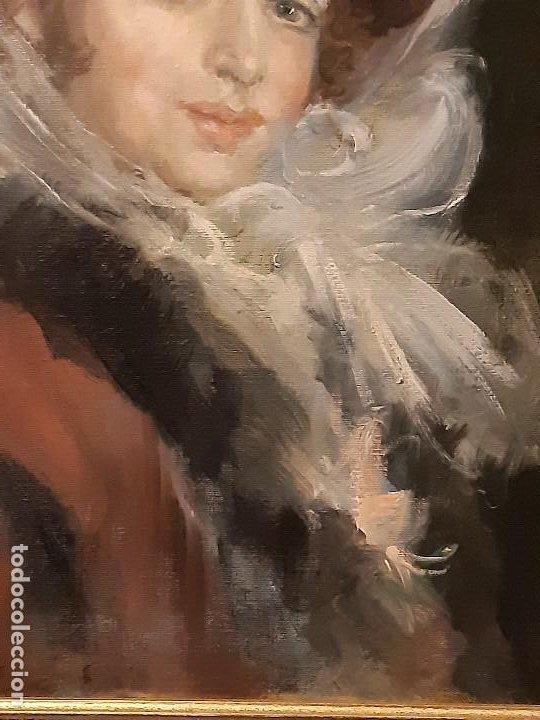 Arte: Retrato de dama. Óleo sobre lienzo. Firmado. Siglo XIX-XX. - Foto 6 - 197182503