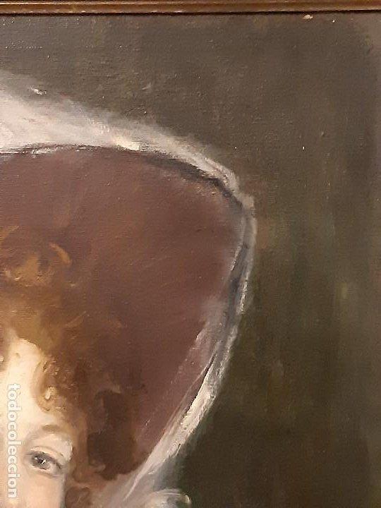 Arte: Retrato de dama. Óleo sobre lienzo. Firmado. Siglo XIX-XX. - Foto 8 - 197182503