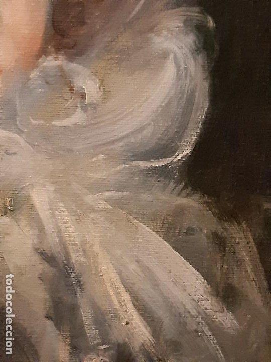 Arte: Retrato de dama. Óleo sobre lienzo. Firmado. Siglo XIX-XX. - Foto 12 - 197182503