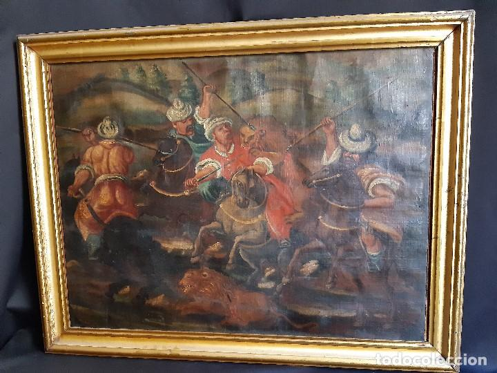 CACERÍA LEONES. ÓLEO SOBRE LIENZO. BARROCO. SIGLO XVIII. (Arte - Pintura - Pintura al Óleo Antigua siglo XVIII)
