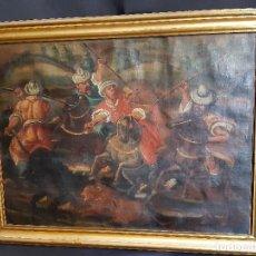 Arte: CACERÍA LEONES. ÓLEO SOBRE LIENZO. BARROCO. SIGLO XVIII.. Lote 197224892