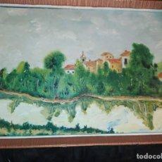 Arte: ÓLEO SOBRE TABLA ENMARCADO PUEBLO BOSQUE LAGO CAMPANARIO ATRIBUIDO RAFAEL IBORRA GALLACH. Lote 197257127