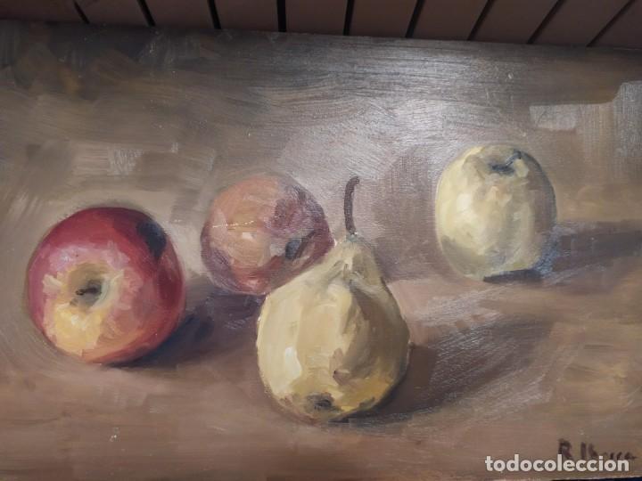 BODEGÓN ÓLEO SOBRE TABLA FIRMADO RAFAEL IBARRA GALLACH 2002 FRUTAS PERA MANZANA (Arte - Pintura - Pintura al Óleo Contemporánea )
